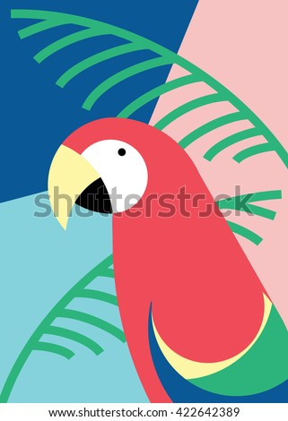 Tropical bird in abstract geometric style: red macaw parrot - stock vector