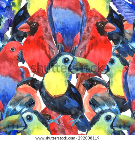 Tropical  birds colorful composition seamless pattern for screen printing with parrots and toucan heads abstract vector illustration - stock vector