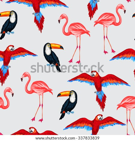 Tropical birds seamless pattern with parrots toucans and flamingos. - stock vector