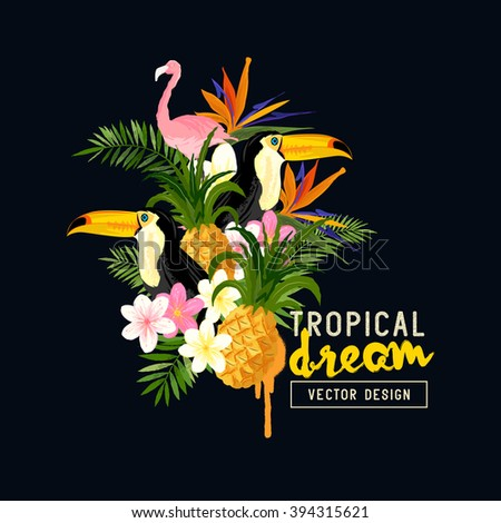Tropical Border Design. tropical hand drawn elements including bird of paradise flower, Toucan and Pelican birds and tropical floral elements. - stock vector