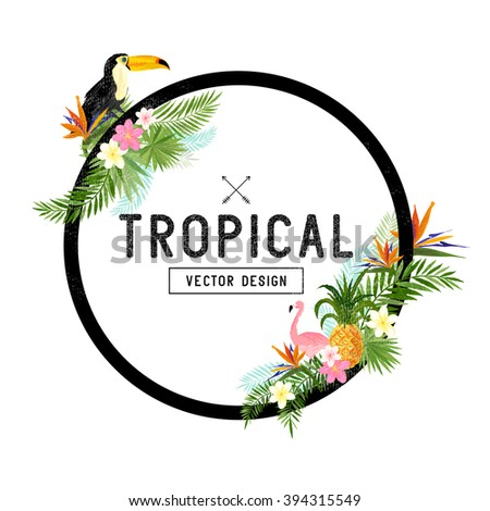 Tropical Border Design. Vector Illustration. - stock vector