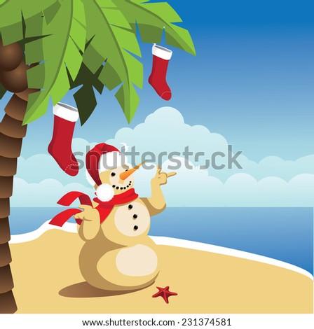 Tropical Christmas Background. EPS 10 vector illustration. - stock vector