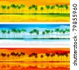 Tropical coast. Horizontal vector  banners with tropical coast and row of palms in three color gammas - stock photo