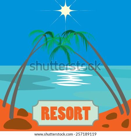 tropical coastline view icon - stock vector