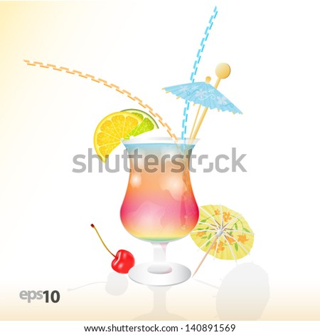 Tropical cocktail in glass with ice and umbrella - stock vector