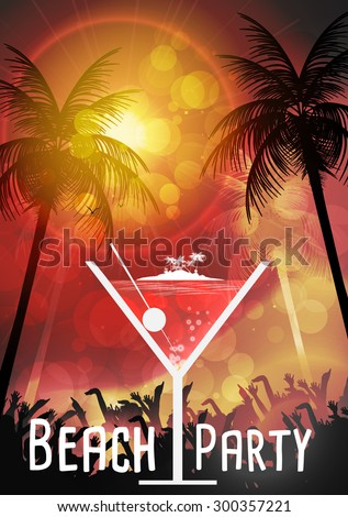 Tropical Cocktail Party Poster Design - Vector Illustration - stock vector