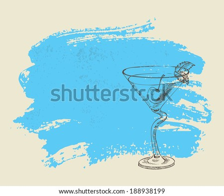Tropical cocktail with mint on blue grunge background - stock vector