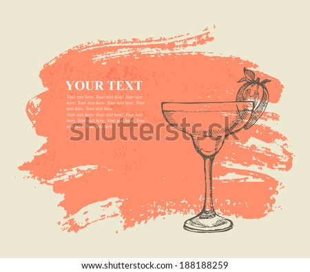 Tropical cocktail with strawberry on pink grunge background - stock vector