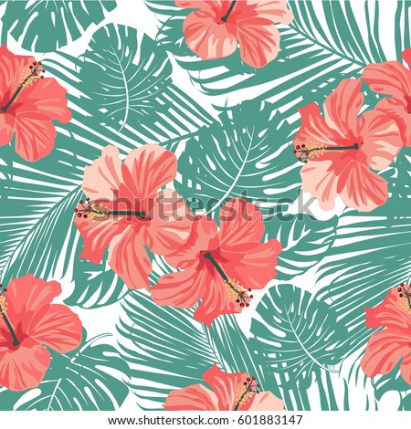 Tropical coral flowers leaves on black stock vector 601883147 tropical coral flowers and leaves on black and white background seamless vector mightylinksfo