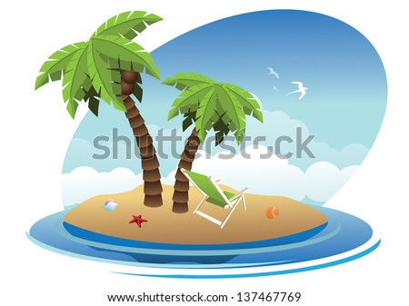Tropical Desert Island. EPS 10 vector, grouped for easy editing. No open shapes or paths. - stock vector