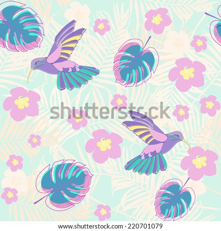Tropical design background with birds and flowers pastel colored.