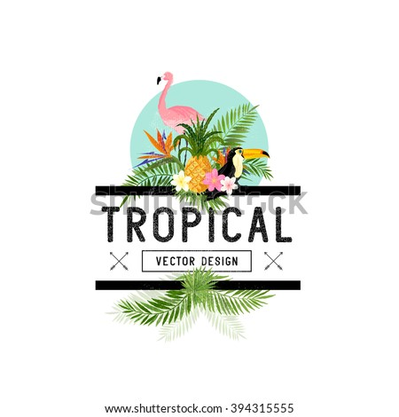 Tropical Design Elements. Various tropical objects including Toucan bird, pineapple and palm leaves. - stock vector