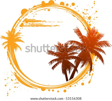 Tropical design with palm trees and grunge circle