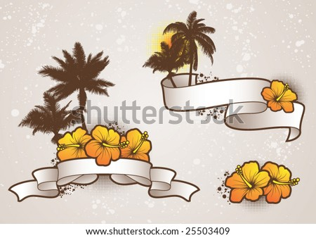 Tropical Elements2 - vector - stock vector