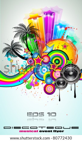 Tropical Event Disco Flyer for Music Poster, Night Parites or Latin live concert wallpapers. - stock vector