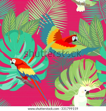 Tropical, exotic, Hawaiian floral seamless pattern with Ara Macao Parrot and with palm leaves. Vector. - stock vector
