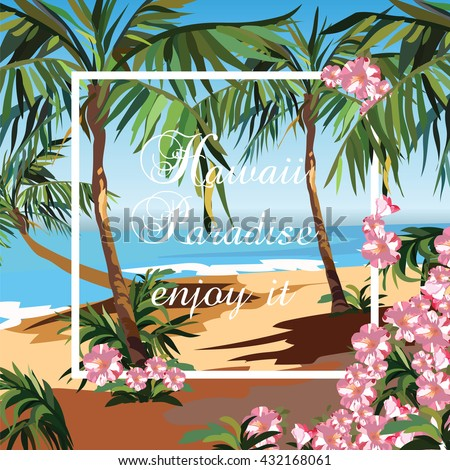 Tropical Exotic Paradise Beach. Summer Beach with Palm trees and flowers. Vector background card - stock vector