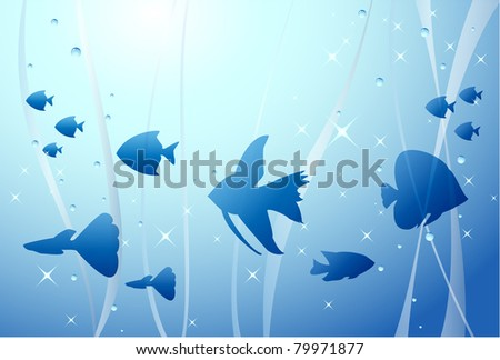 Tropical fish background, vector illustration - stock vector