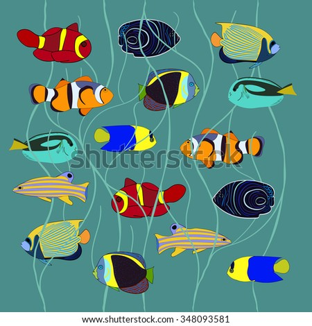 Tropical fish collection - stock vector