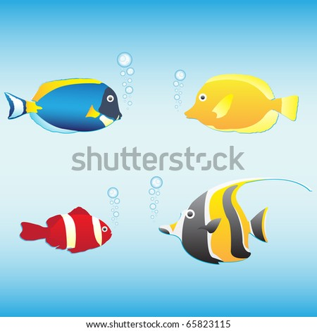 Tropical fish collection (anemone fish, butterfly fish, moorish idol, blue tang), vector illustration - stock vector