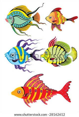 tropical fish collection - vector - stock vector