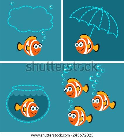 Tropical Fish - doodle set - stock vector