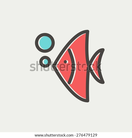 Tropical fish icon thin line for web and mobile, modern minimalistic flat design. Vector icon with dark grey outline and offset colour on light grey background. - stock vector