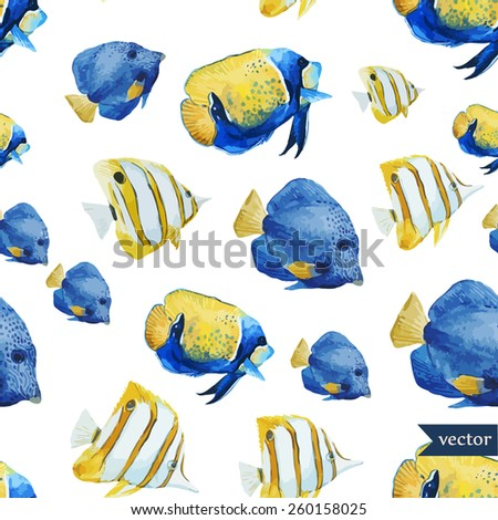 tropical, fish, ocean, sea, watercolor, wallpaper, background, texture, blue, yellow,  - stock vector