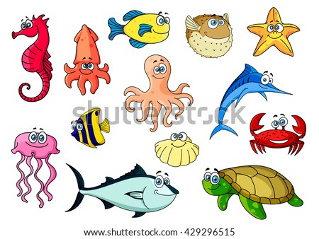 Tropical fish, sea turtle and shell, crab, octopus, starfish, squid, red seahorse and pink jellyfish, blue marlin and tuna. Sea animals characters for mascot, zoo aquarium or nature design usage