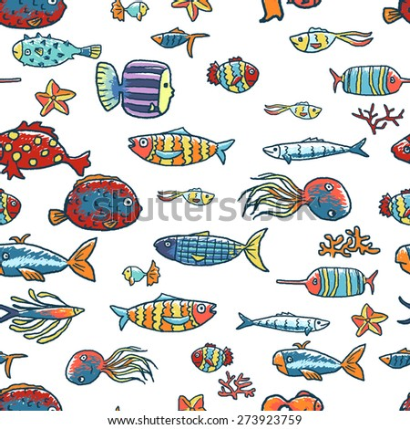 Tropical fishes seamless pattern. Sea life - stock vector