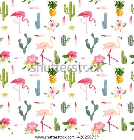 Tropical Flamingo Bird and Cactus Background. Seamless Pattern. Vector - stock vector