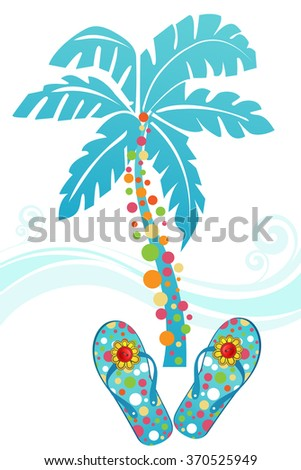 Tropical flipflops palm tree and waves Buttons on the flower on shoes  - stock vector