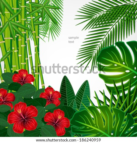 Tropical floral design background. - stock vector
