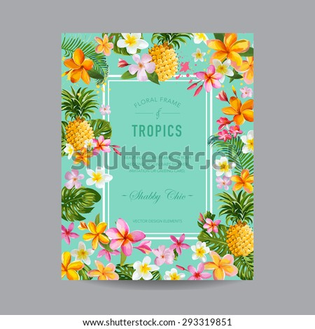 Tropical Floral Frame - for Invitation, Wedding, Baby Shower Card - in vector  - stock vector