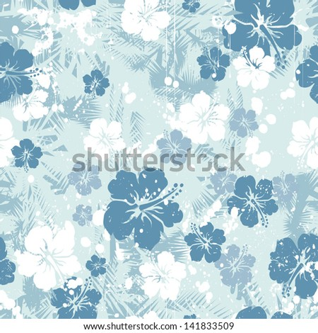 Tropical floral seamless distressed-EPS 8 - stock vector