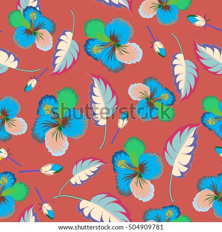 Tropical floral seamless pattern with multicolor hibiscus flowers. Floral vector on a brown background.