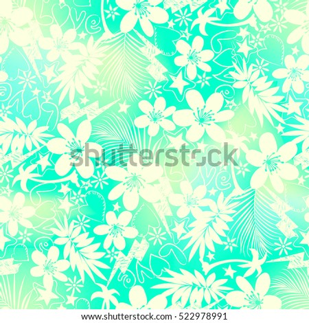 Tropical floral with love seamless pattern .