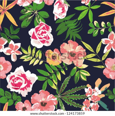 tropical flower seamless vector pattern background - stock vector