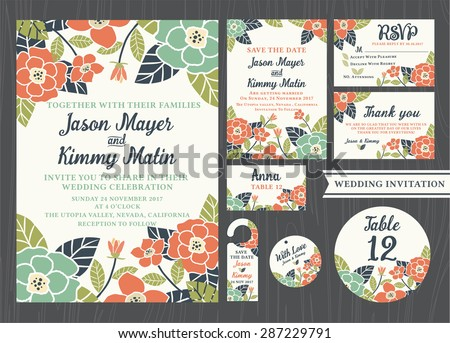 Tropical flower wedding invitation vintage design sets include Invitation card, Save the date, RSVP card, Thank you card, Table number, Gift tags, Place cards, Respond card, Save the date door hanger - stock vector