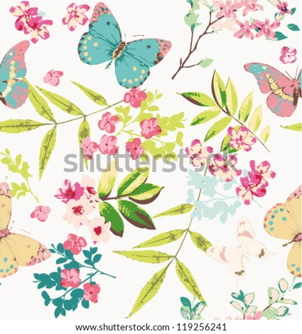 tropical  flower with butterfly pattern background - stock vector