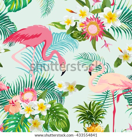 Tropical Flowers and Birds Background. Vintage Seamless Pattern. Vector Background. Flamingo Pattern. - stock vector