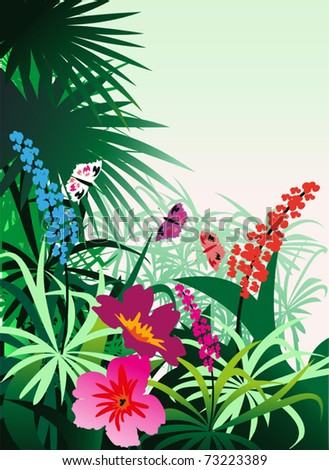 Tropical flowers and butterflies against the backdrop of bush - stock vector