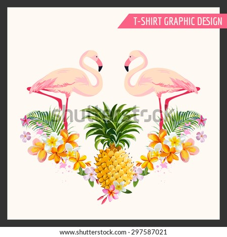 Tropical Flowers and Flamingo Graphic Design - for t-shirt, fashion, prints - in vector - stock vector
