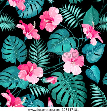 Tropical flowers and jungle palms. Seamless texture. Vector illustration.