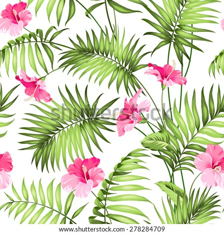 Tropical flowers and jungle. Seamless pattern. Vector illustration. - stock vector