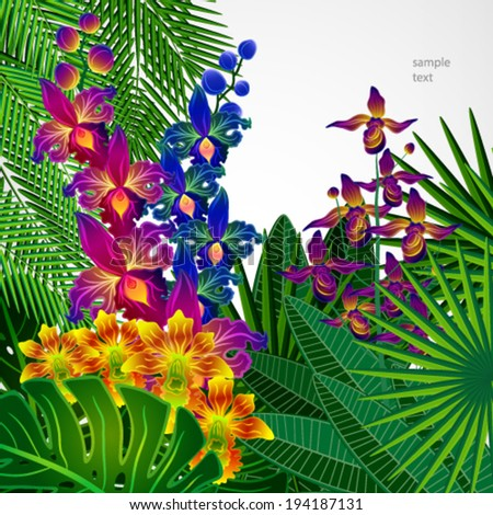 Tropical flowers and leaves. Floral design background. - stock vector