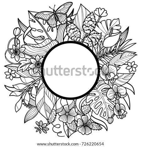 Tropical Flowers And Plants Round Frame Floral Composition On White Background For Greeting Cards