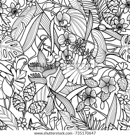Tropical Flowers And Plants Seamless Pattern Floral Square Wallpaper On White Background For Greeting Cards