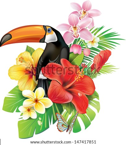 Tropical flowers and toucan - stock vector