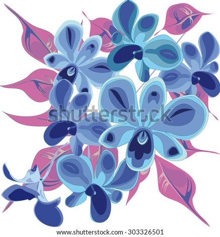 Tropical Flowers Blue Orchid With Leaves Vector Pattern